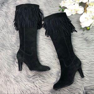 Matisse Black Suede Fringe Heeled Boots Tall 6
